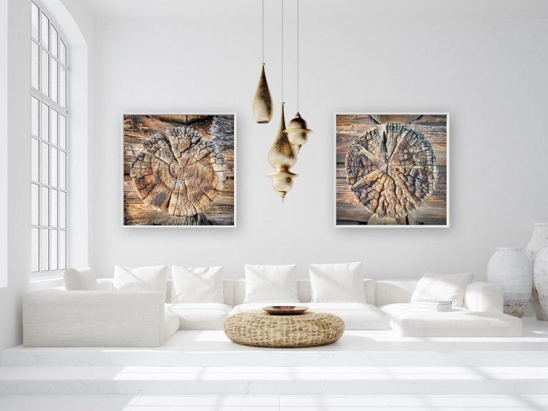 Light and spacious bohemian living room, Scandi–Boho style, 3d render